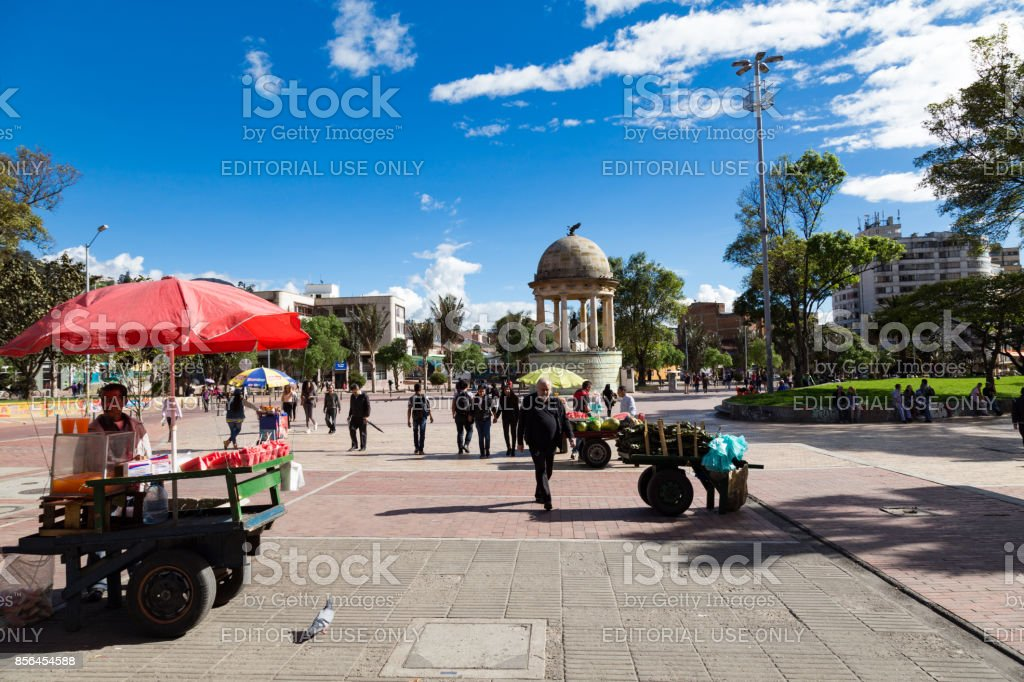 People in the Parque de Los Periodistas stock photo