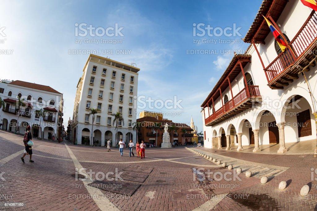 People in the Plaza de la Aduana stock photo