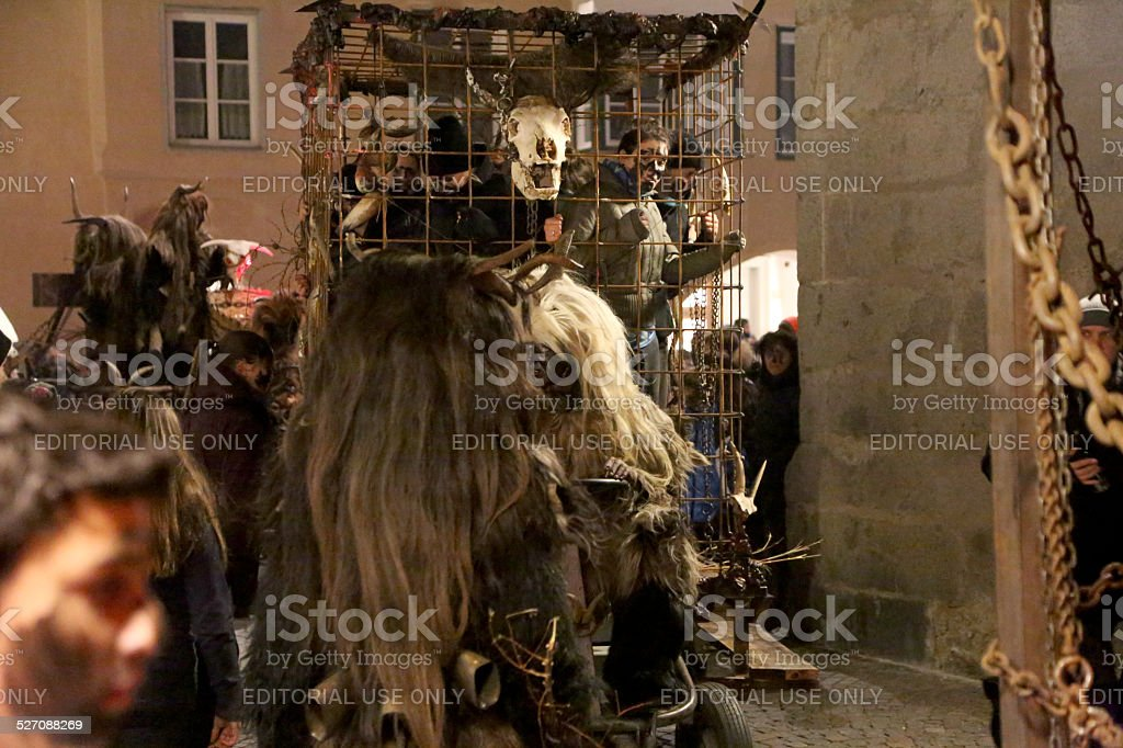 People in the prison of Krampus stock photo