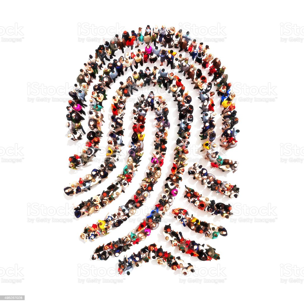 People in the shape of a fingerprint stock photo