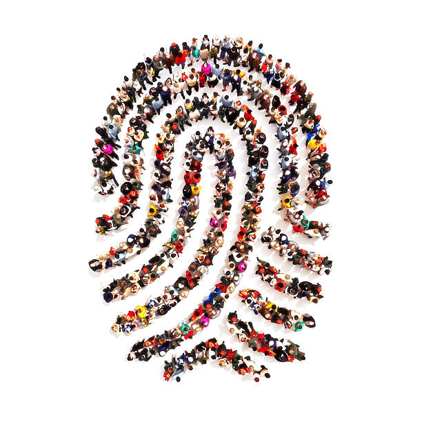 people in the shape of a fingerprint - identity stock photos and pictures
