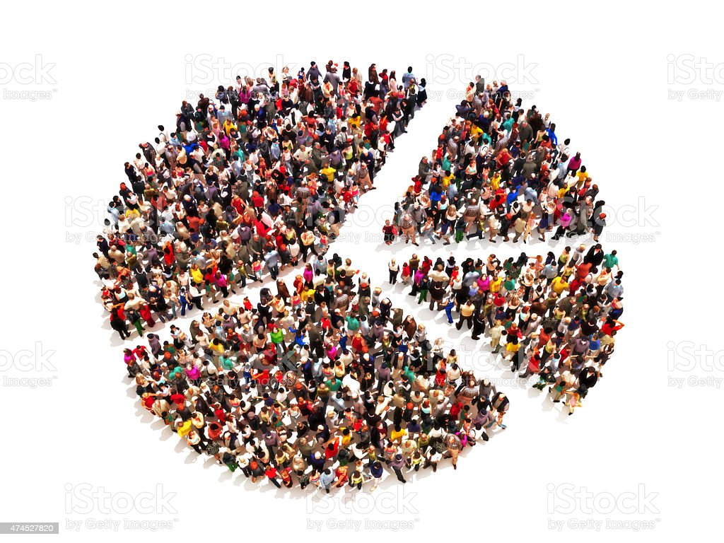 People in the shape of a pie graph stock photo