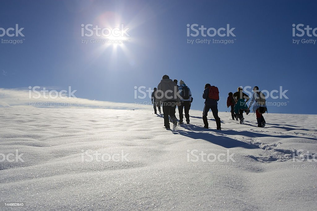 People in the snow royalty-free stock photo