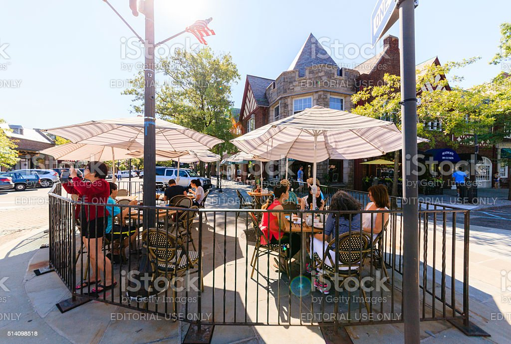 People in the street cafe in Scarsdale, Westchester County. stock photo