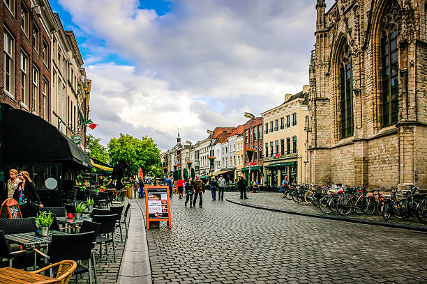 People in the town center of Breda in the Netherlands stock photo