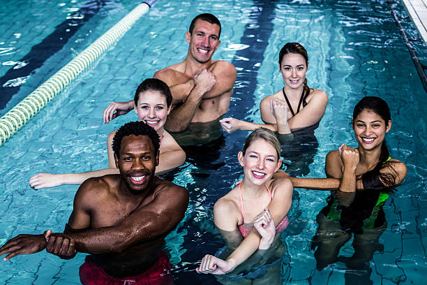 People in the waterFitness group doing aqua aerobics - foto stock