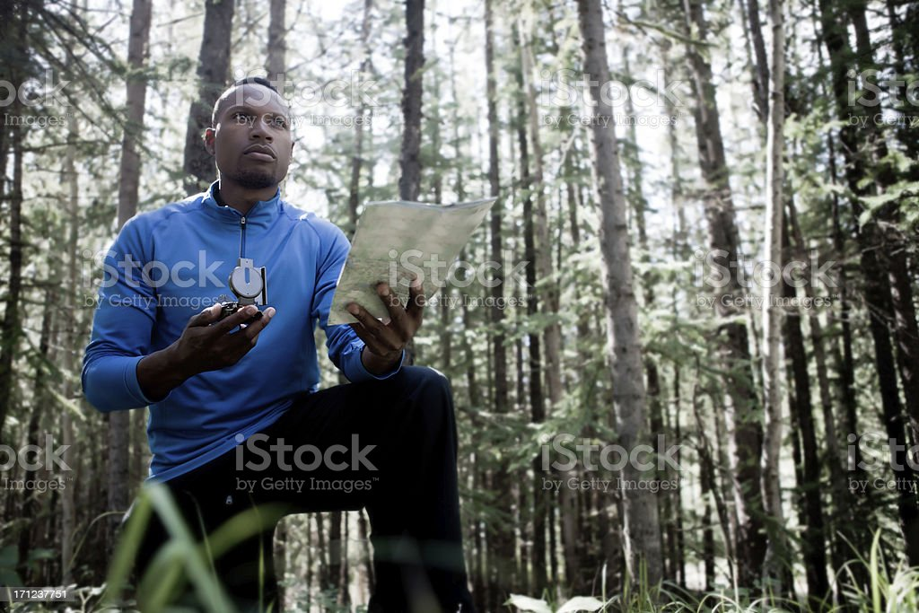 people in the woods stock photo