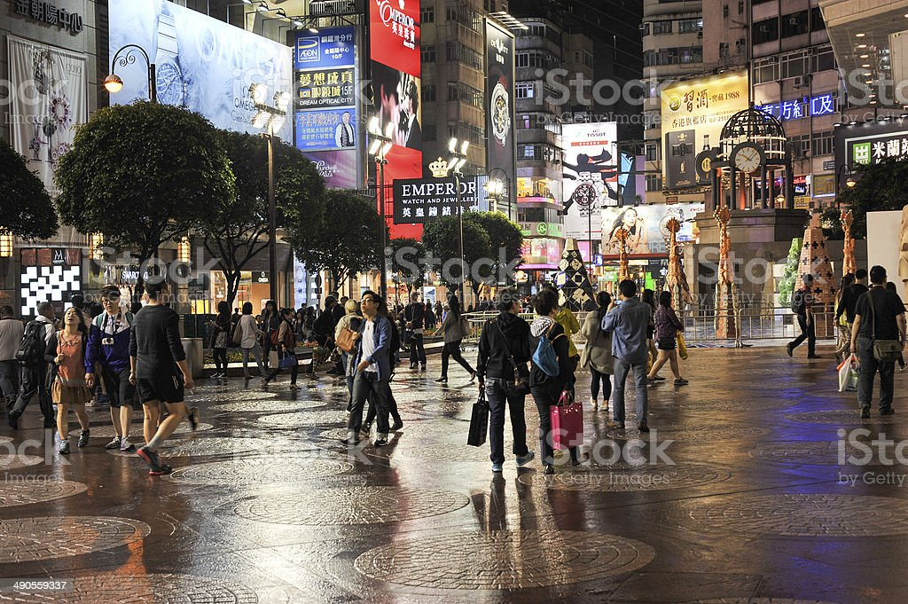 People in Times Square, Hong Kong royalty-free stock photo