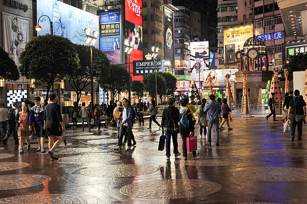 People in Times Square, Hong Kong stock photo
