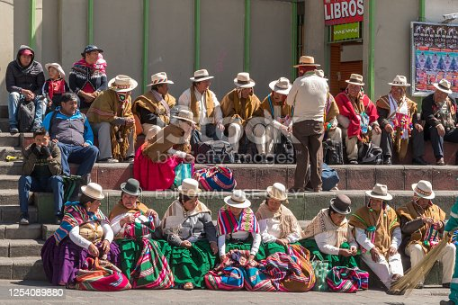 La Paz, Bolivia - september 30, 2018: People in traditional clothes in the square San Francicsco in La Paz, in Bolivia