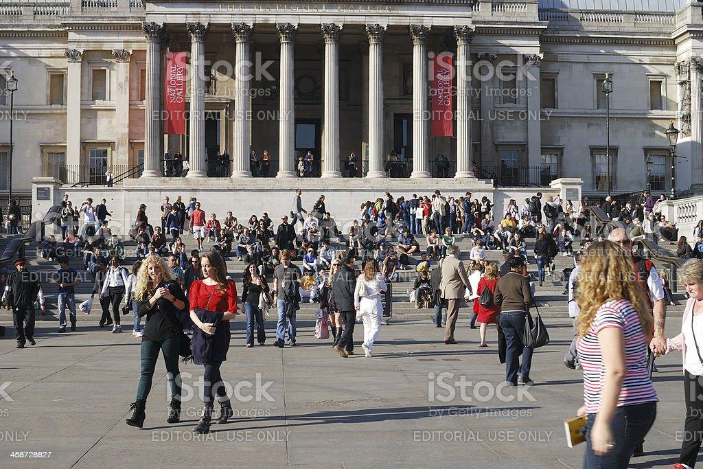 People in Trafalgar Square. London. England royalty-free stock photo