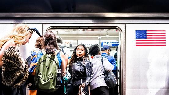 People In Underground Platform Transit In Nyc Subway ...
