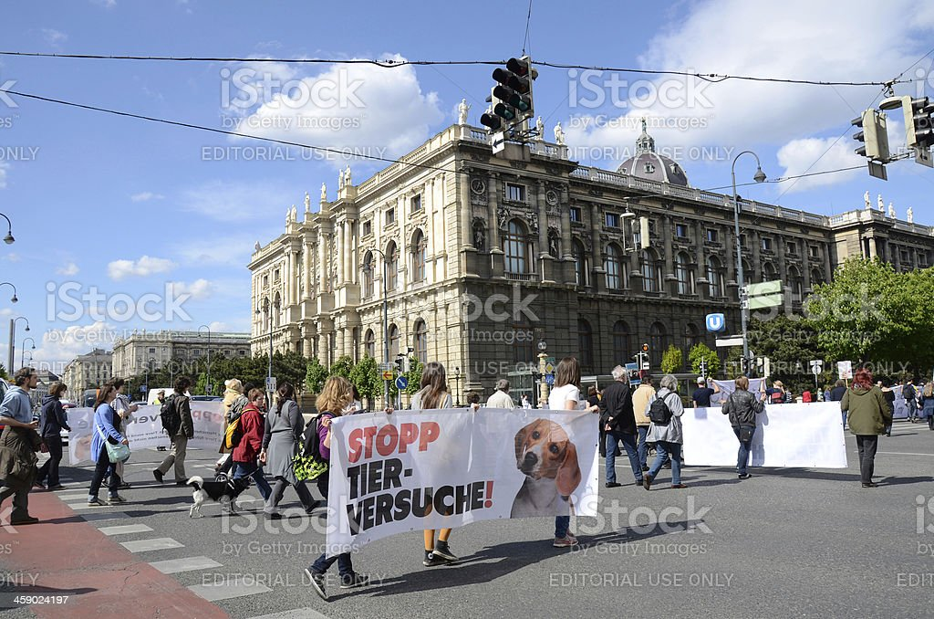 People in Vienna Protesting for Animal Rights royalty-free stock photo