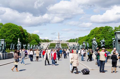 People in Vigeland Park in Oslo