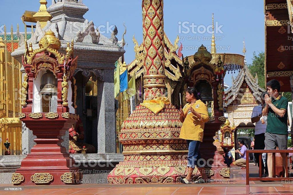 People in  Wat Phra That Hariphunchai stock photo