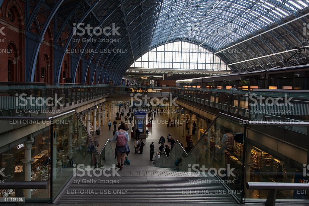 People inside Railway Station at St Pancras stock photo