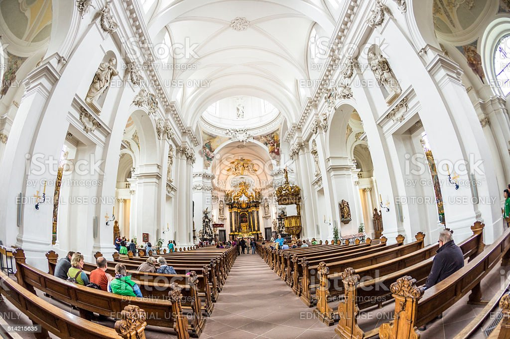 people inside the baroque Cathedral in Fulda stock photo
