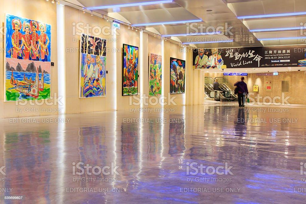 People inside the Taiwan Taoyuan International Airport stock photo