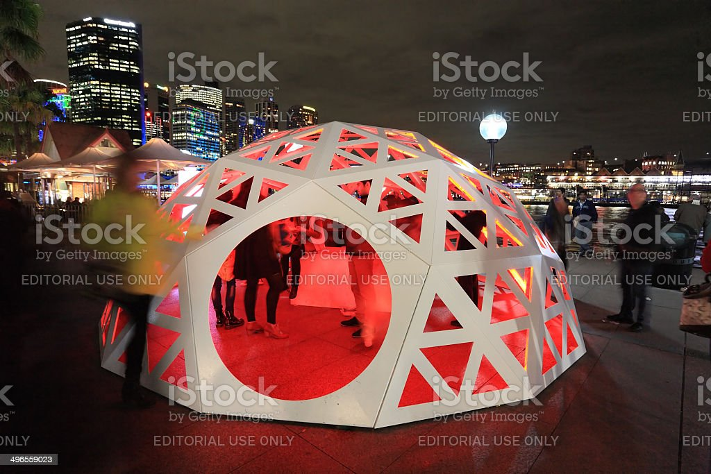 People interacting with Geodesic Light Dome Circular Quay Sydney royalty-free stock photo