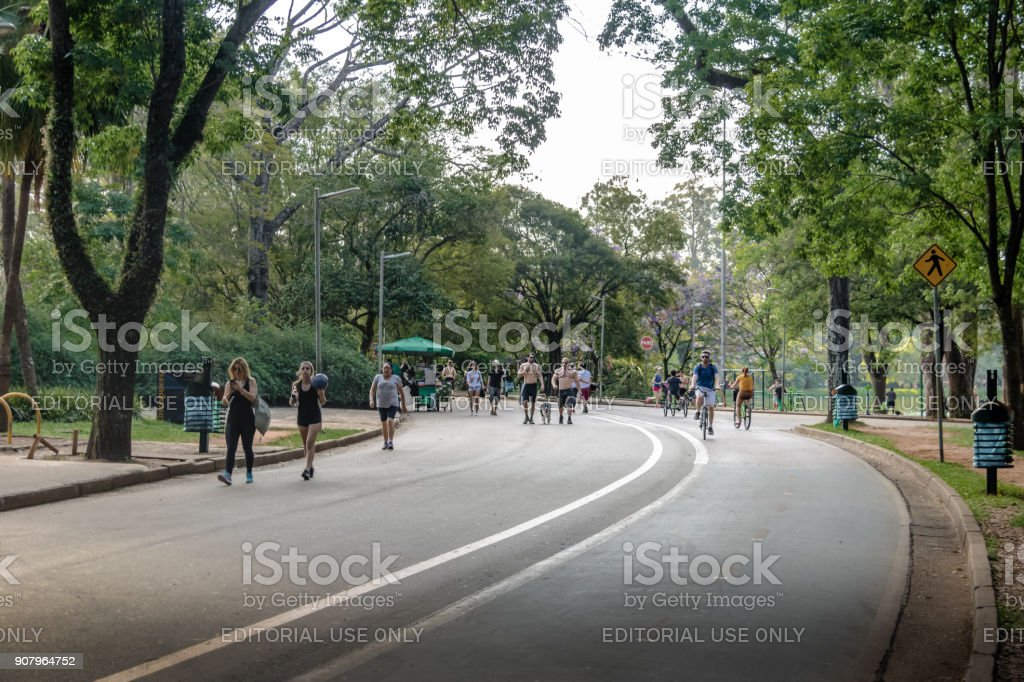 People jogging and cycling in Ibirapuera Park - Sao Paulo, Brazil stock photo