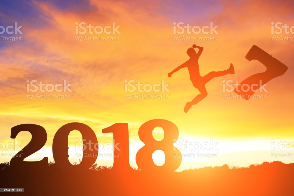 people jump with 2018 stock photo