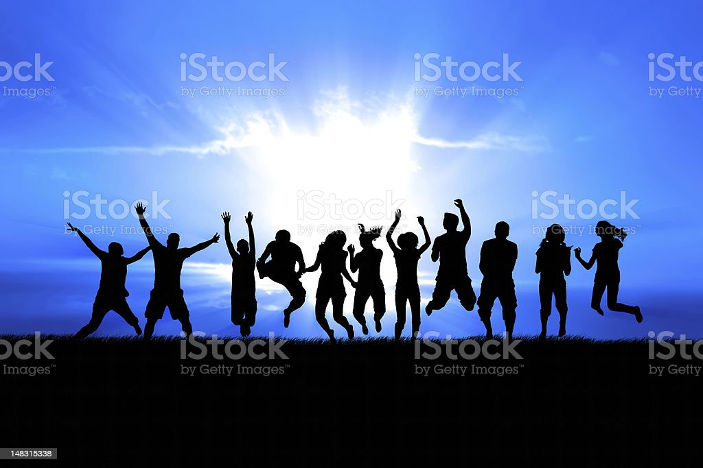 People Jumping in Sun Rays royalty-free stock photo