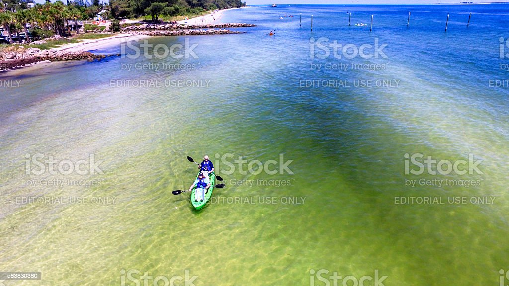 People kayaking around Anna Maria Island, Bradenton, FL stock photo