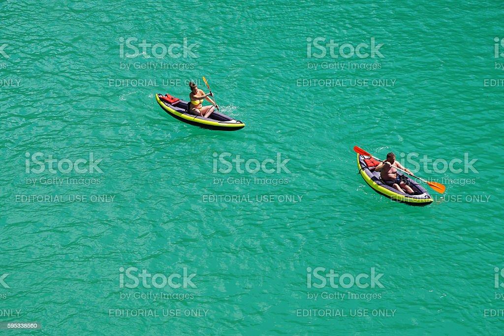People kayaking on Verdon Gorge stock photo