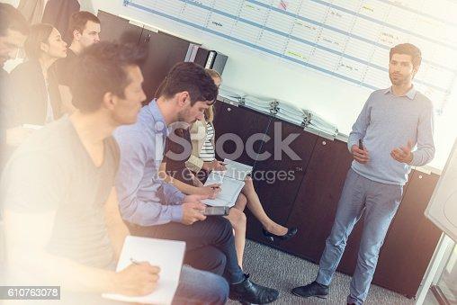 603992132 istock photo People listening to a seminar presenter 610763078