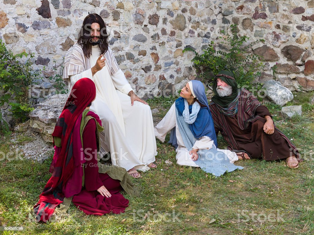 People listening to Jesus stock photo