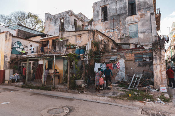 People Living in Makeshift Housing in Cuba stock photo
