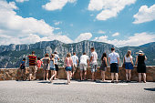 Verdon, France - June 29, 2015: People look at mountains from lookout in Gorges Du Verdon, France.