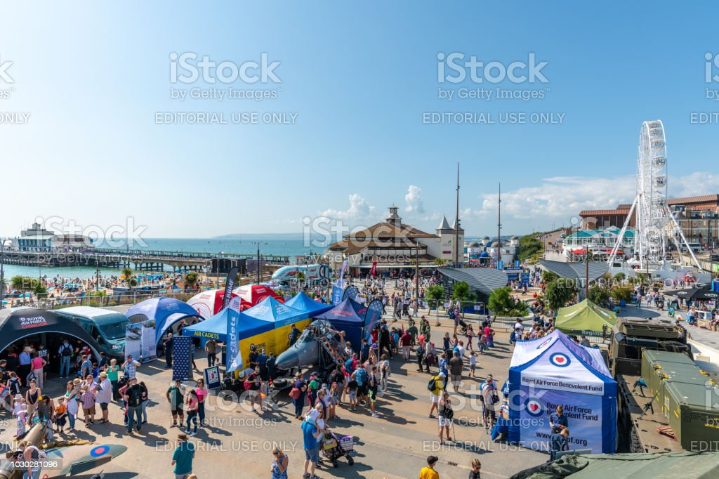 People look at the RAF displays by Bournemouth Pier stock photo
