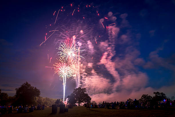 People looking at fireworks in honor of Independence Day stock photo