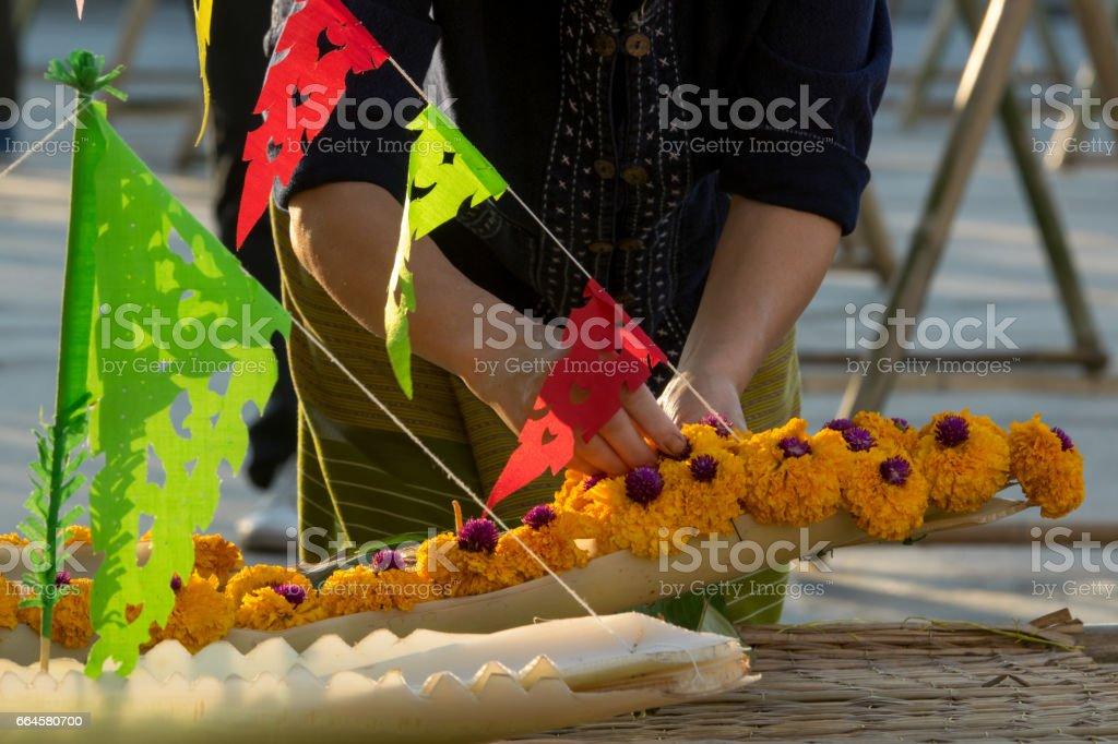 people make krathong for Loy Krathong festival, royalty-free stock photo