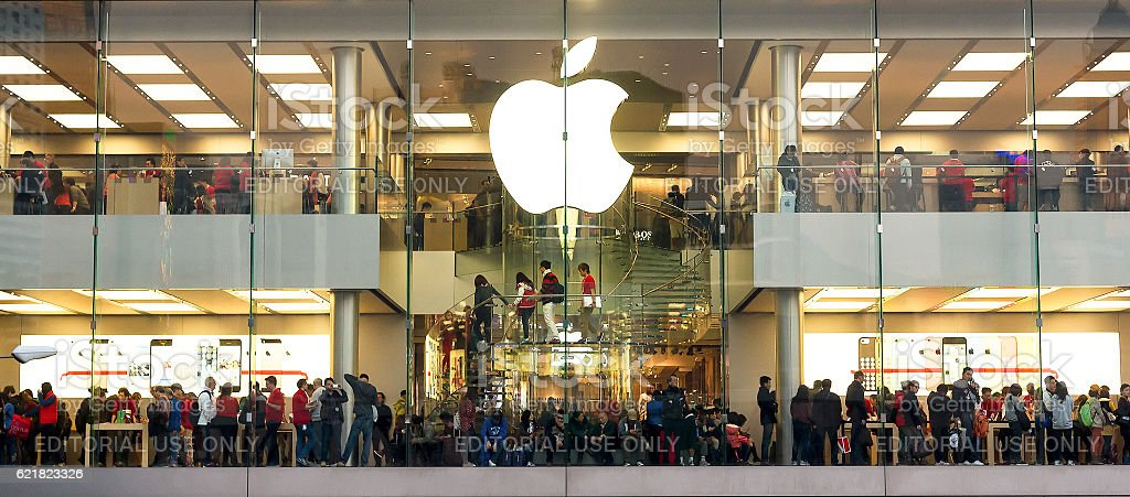 People make shopping in Apple store during  Christmas holidays stock photo