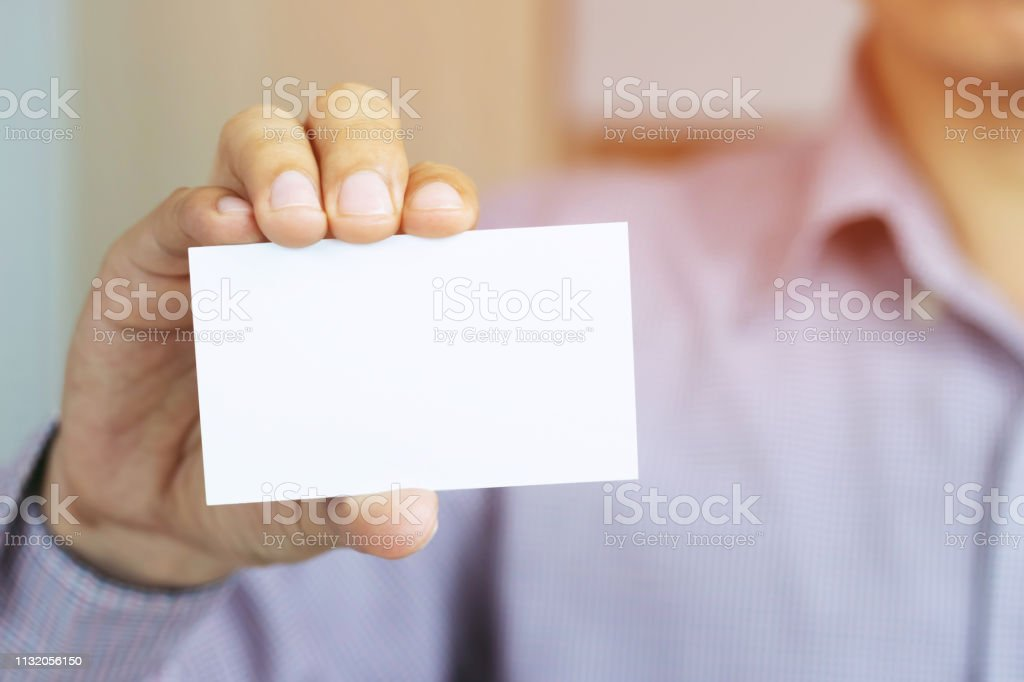 People man hand hold business cards show blank white card mock up. or...