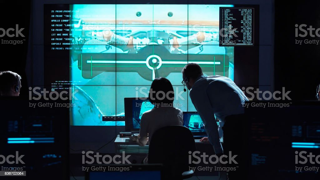 People managing flight on base stock photo