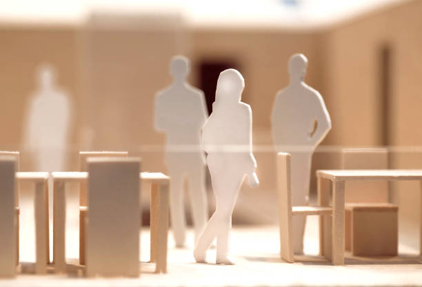 people meeting and talking, wooden and cardboard layout, model of human communication - battle of the sexes concept stock pictures, royalty-free photos & images