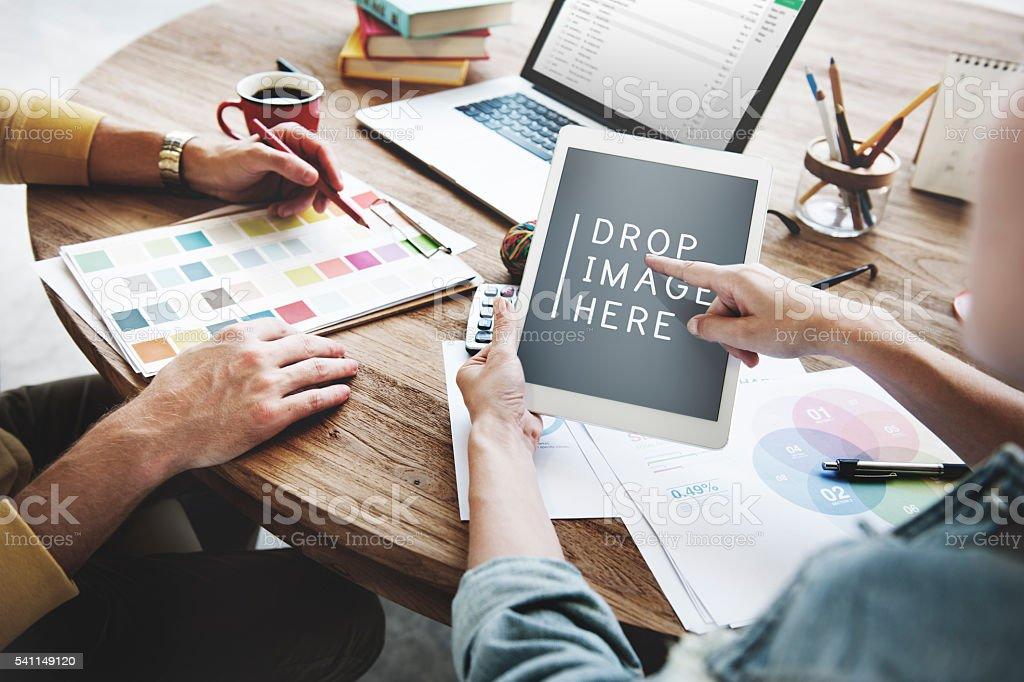 People Meeting Corporate Design Creativity Laptop Concept stock photo