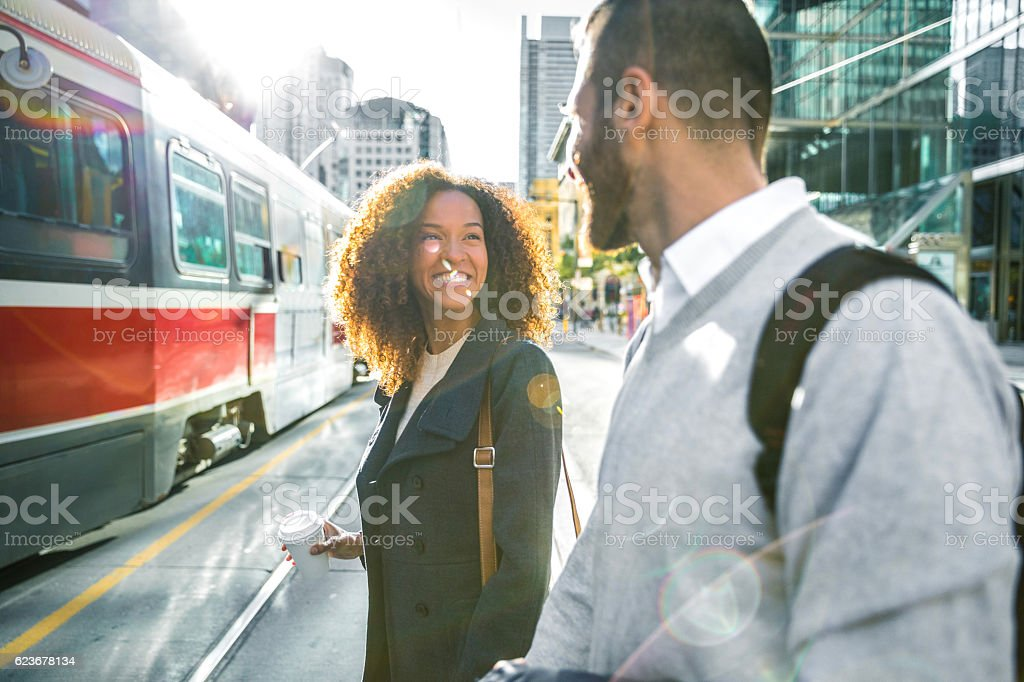 People meetup in downtown going to work in the morning stock photo