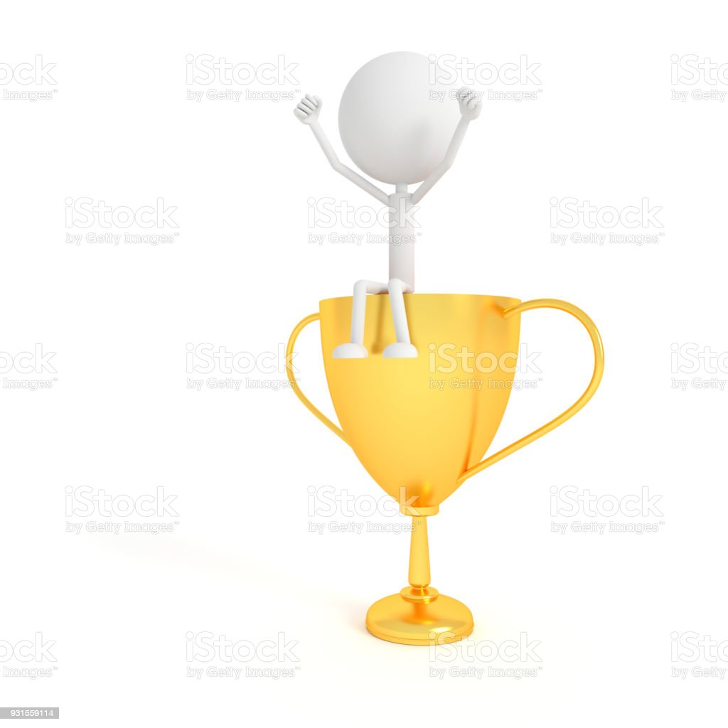 People model and gold cup with the winner concept. 3D rendering. stock photo