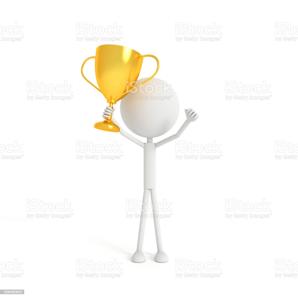 People model holding the gold cup with the winner concept. 3D rendering. stock photo