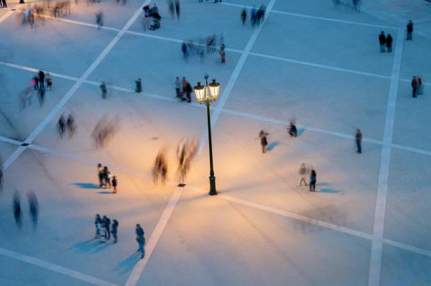 people motion blur aerial view - people lisbon imagens e fotografias de stock