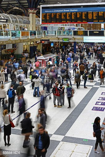 London, United Kingdom - May 23, 2016: Internal of Liverpool Street Railway Station. many voyagers crowd the station.