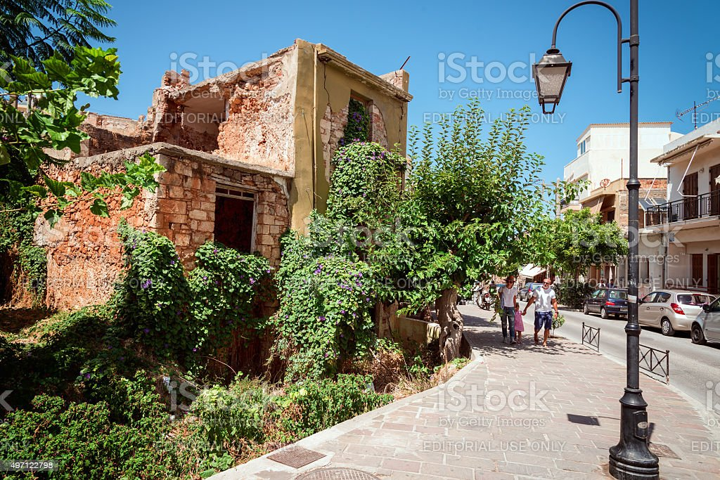 People Near Abandoned House In Old Town Of Chania Stock