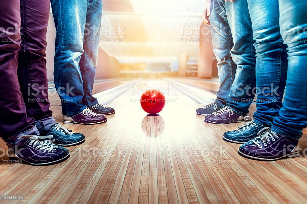 People near bowling ball stock photo