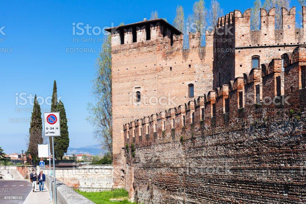 people near Castelvecchio (Scaliger) Castle stock photo