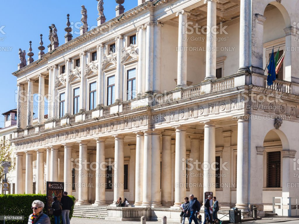 people near Palazzo Chiericati in Vicenza city stock photo