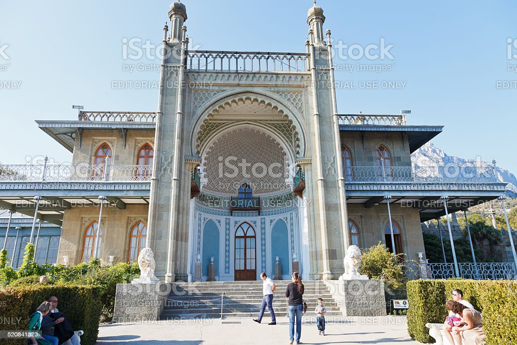 people near south facade of Vorontsov Palace stock photo